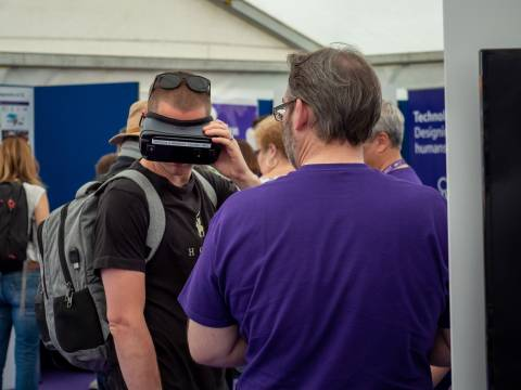 Visitor to BT Marquee using VR headset